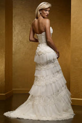 Mia Solano 'M424C' size 6 sample wedding dress side view on model