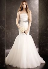 Vera Wang 'Fit and Flare' size 4 used wedding dress front view on model