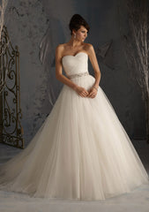 Mori Lee Blu '5172' size 6 sample wedding dress front view on model