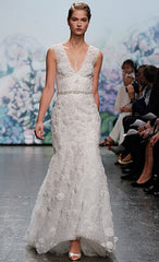 Monique Lhuillier 'Aurora' size 8 used wedding dress front view on model