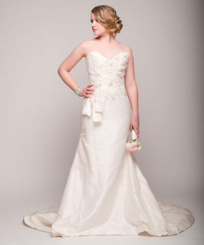 Elizabeth Fillmore 'Analise' Ivory Taffeta Wedding Dress