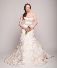 Eugenia 3499 Ivory Floral Satin Skirt Ball Gown - Eugenia - Nearly Newlywed Bridal Boutique - 1