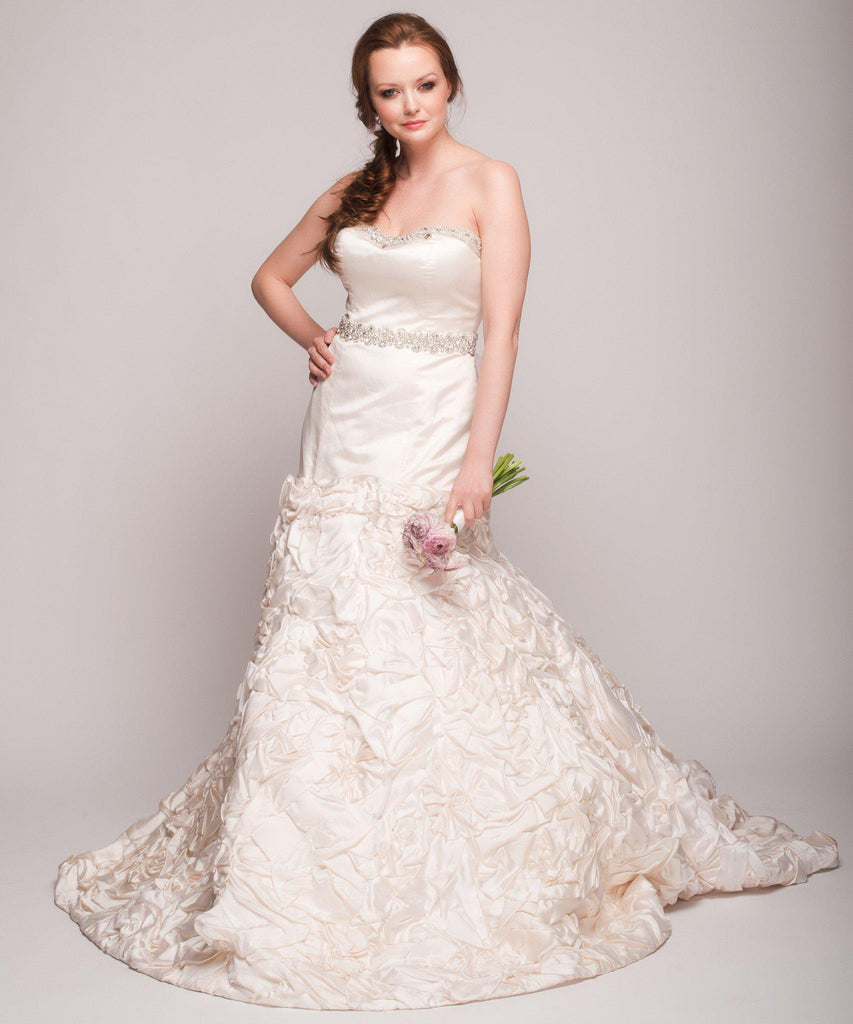 Eugenia 3499 Ivory Floral Satin Skirt Ball Gown - Eugenia - Nearly Newlywed Bridal Boutique - 2
