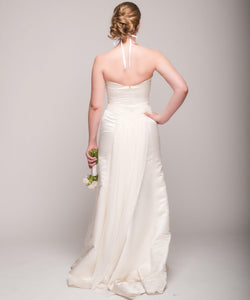 Eugenia Satin & Chiffon Painted Floral Wedding Dress - Eugenia - Nearly Newlywed Bridal Boutique - 3