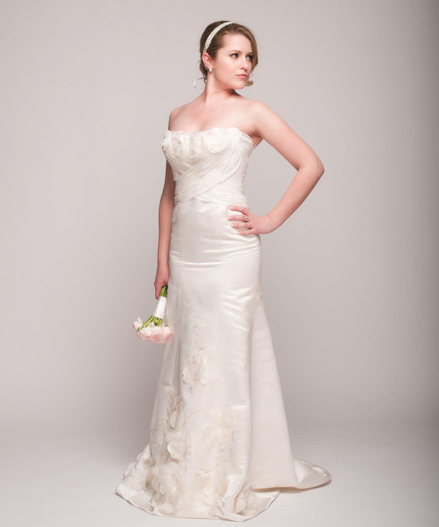 Eugenia Satin & Chiffon Painted Floral Wedding Dress - Eugenia - Nearly Newlywed Bridal Boutique - 2