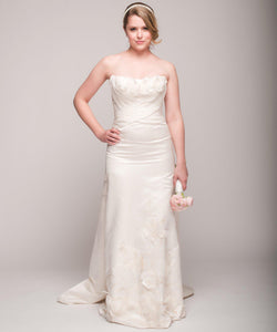Eugenia Satin & Chiffon Painted Floral Wedding Dress - Eugenia - Nearly Newlywed Bridal Boutique - 1