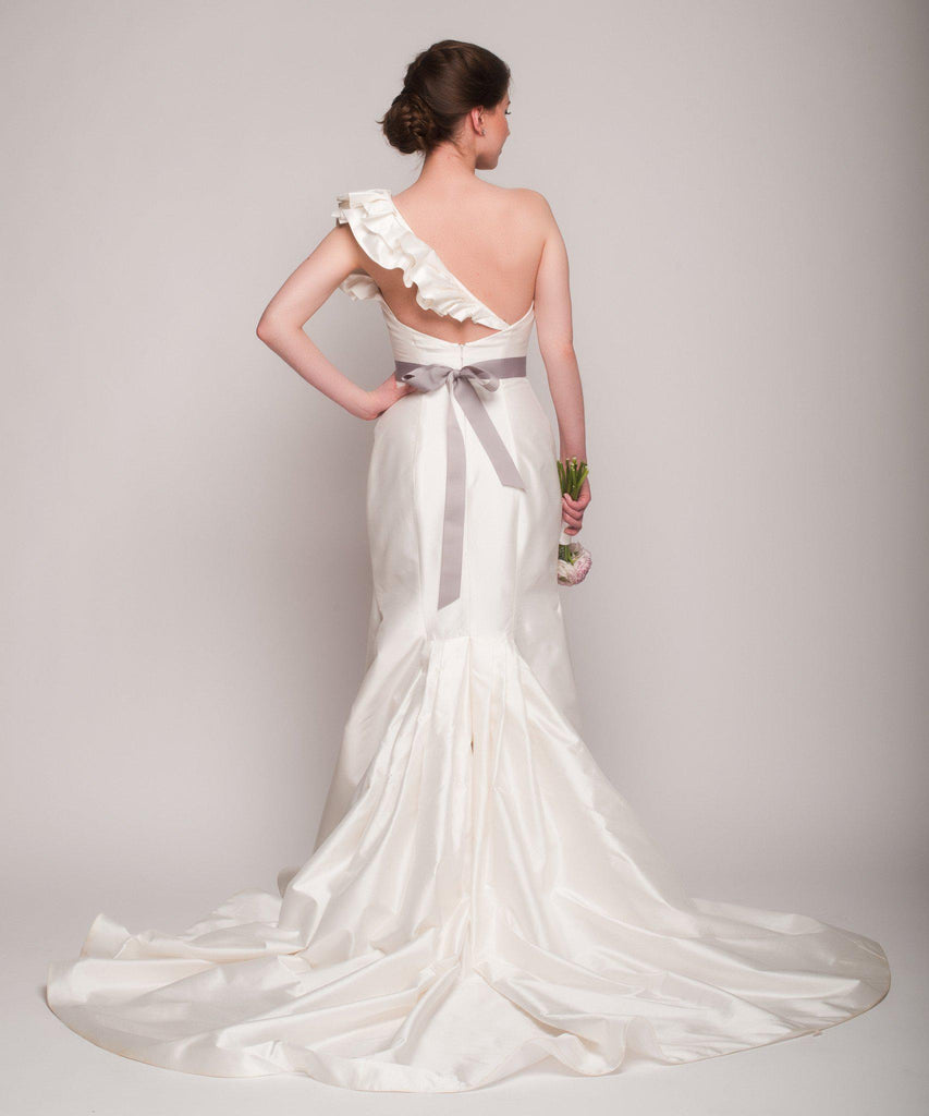 Romona Keveza One Shoulder Fit-N-Flare Gown - Romona Keveza - Nearly Newlywed Bridal Boutique - 5