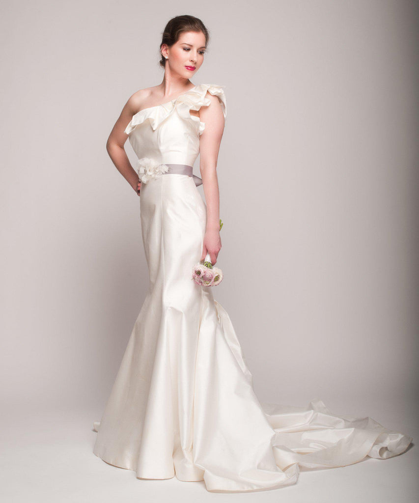 Romona Keveza One Shoulder Fit-N-Flare Gown - Romona Keveza - Nearly Newlywed Bridal Boutique - 4