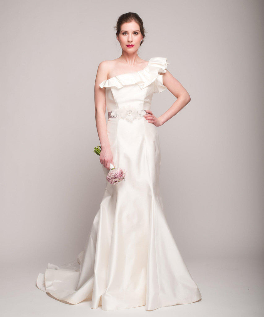 Romona Keveza One Shoulder Fit-N-Flare Gown - Romona Keveza - Nearly Newlywed Bridal Boutique - 3