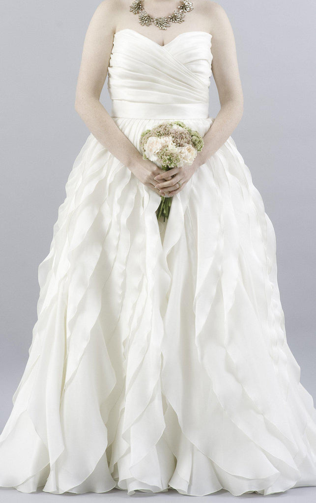Monique Lhuillier Winter Ruffled Organza Dress - Monique Lhuillier - Nearly Newlywed Bridal Boutique - 2