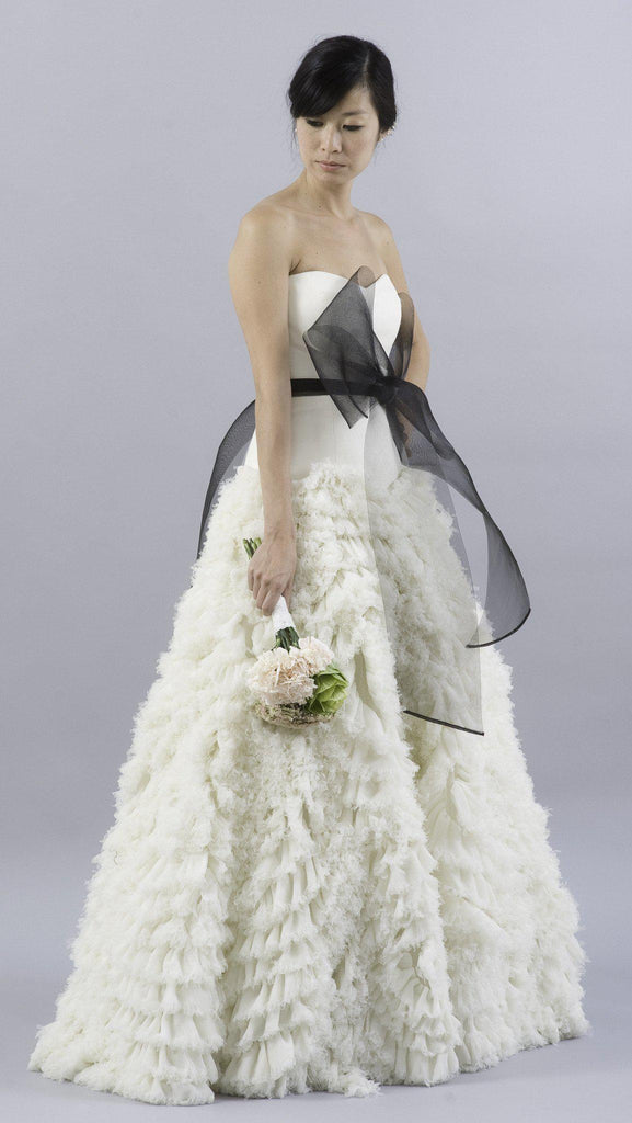 Vera Wang Eleanor Feather Tulle Floral Dress