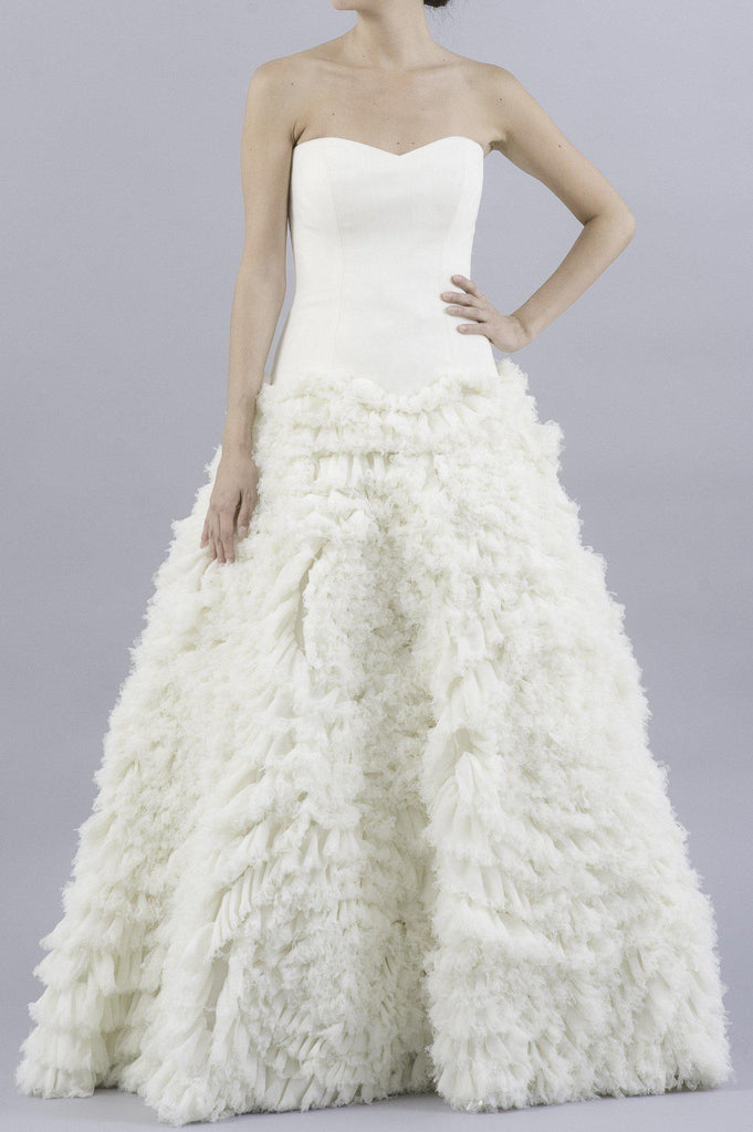 Vera Wang 'Eleanor' Feather Tulle Floral Dress - Vera Wang - Nearly Newlywed Bridal Boutique - 4