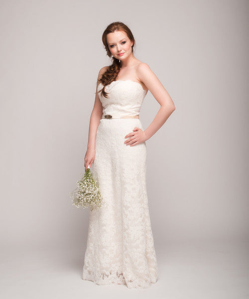 Tara Keely '2053' Lace Strapless Gown - Tara Keely - Nearly Newlywed Bridal Boutique - 6