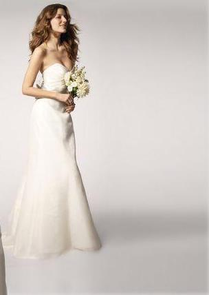 Amsale 'R103G' size 4 sample wedding dress front view on model