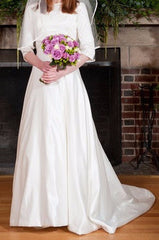 Lillian West '6344' size 6 used wedding dress front view on bride