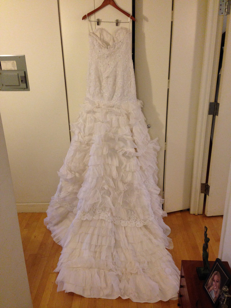 Custom 'Jim Hjelm' Style Organza and Lace Mermaid - Custom - Nearly Newlywed Bridal Boutique - 4