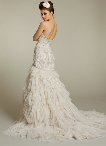 Lazaro Beaded & Embroidered Wedding Dress with Shredded Tulle - Lazaro - Nearly Newlywed Bridal Boutique - 3