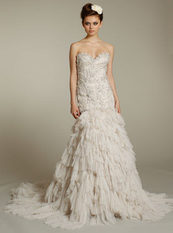 Lazaro Beaded & Embroidered Wedding Dress with Shredded Tulle