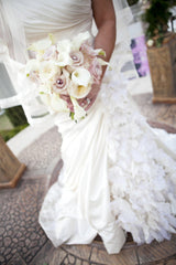 Pnina Tornai Ruched Gown with Floral Inset - Pnina Tornai - Nearly Newlywed Bridal Boutique - 1