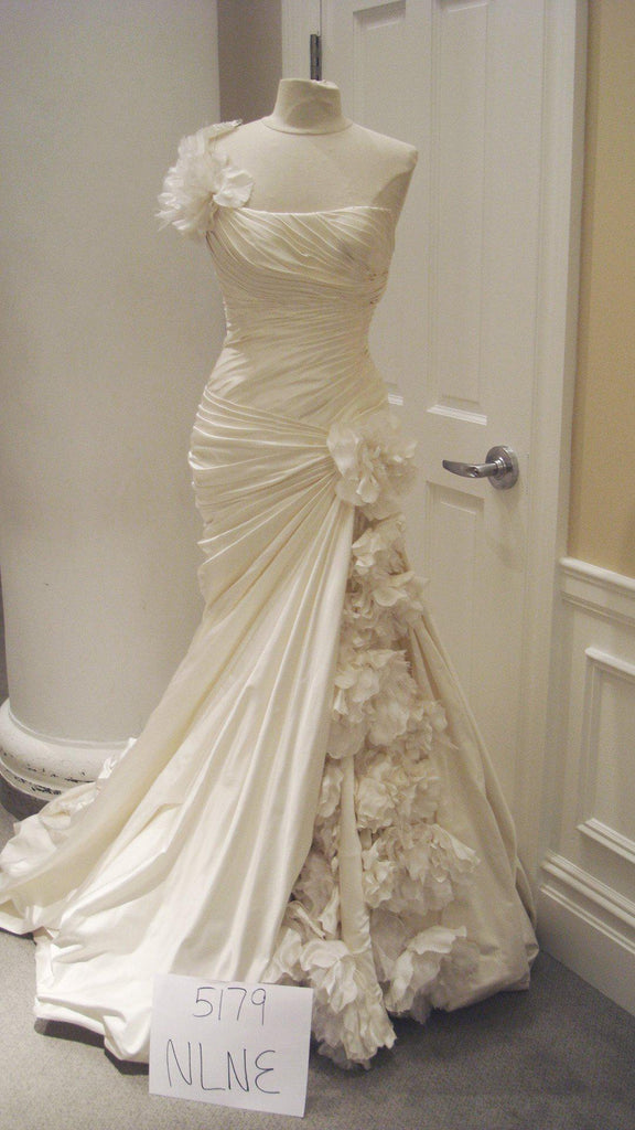 Pnina Tornai Ruched Gown with Floral Inset - Pnina Tornai - Nearly Newlywed Bridal Boutique - 4