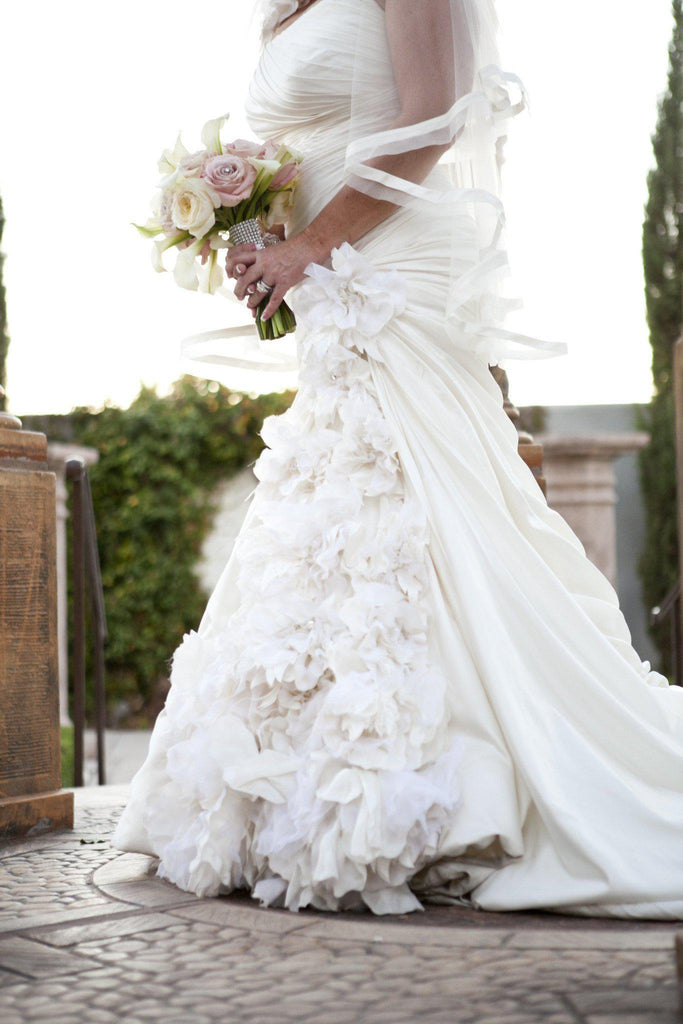 Pnina Tornai Ruched Gown with Floral Inset - Pnina Tornai - Nearly Newlywed Bridal Boutique - 2