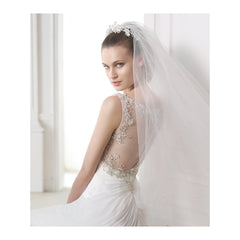 Pronovias 'Maranta' size 6 used wedding dress back view on model