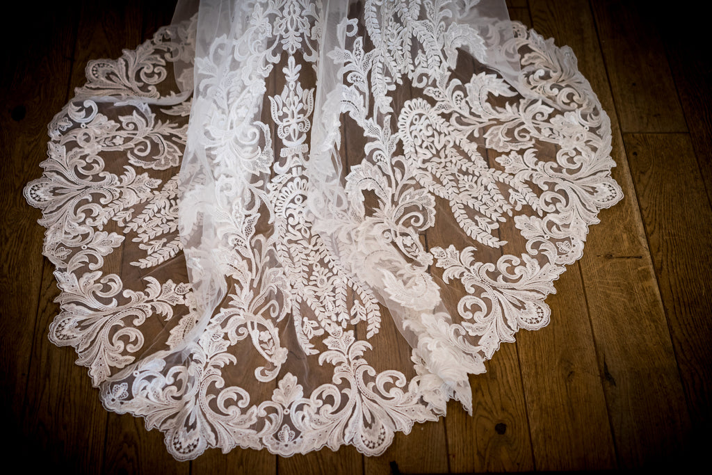 Madison James '271' size 4 used wedding dress view of train