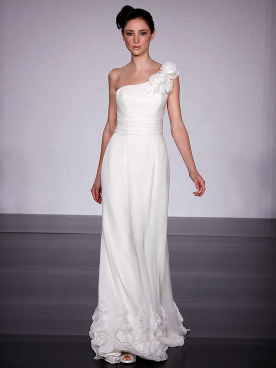Melissa Sweet 'Mallorca' size 2 used wedding dress front view on model