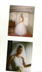 Eve of Milady 'Princess' size 8 used wedding dress side view/front view on bride