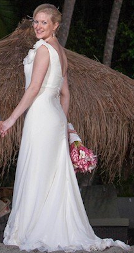 Melissa Sweet 'Mallorca' size 2 used wedding dress back view on bride