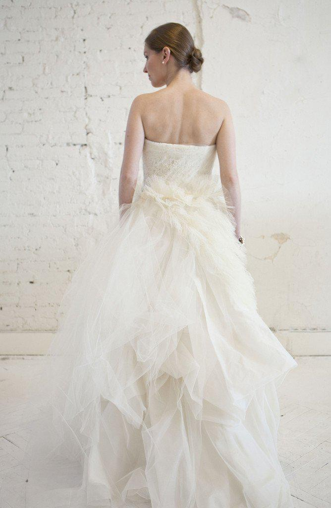 Vera Wang 'Eva' Feather & Tulle Gown - Vera Wang - Nearly Newlywed Bridal Boutique - 4