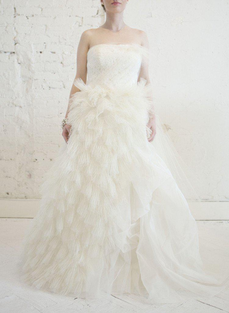 Vera Wang 'Eva' Feather & Tulle Gown - Vera Wang - Nearly Newlywed Bridal Boutique - 5