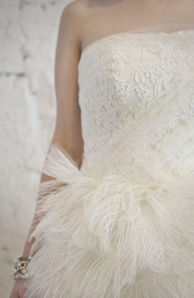 Vera Wang 'Eva' Feather & Tulle Gown - Vera Wang - Nearly Newlywed Bridal Boutique - 6