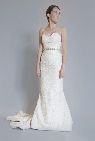 Elizabeth Fillmore 'Amelia' Ivory Silk & Burnout Lace Wedding Dress