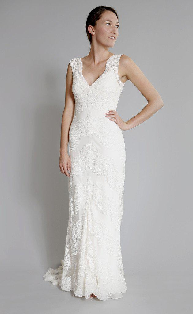 Elizabeth Fillmore 'Sophia' Ivory Chantilly Lace Wedding Dress - Elizabeth Fillmore - Nearly Newlywed Bridal Boutique - 1