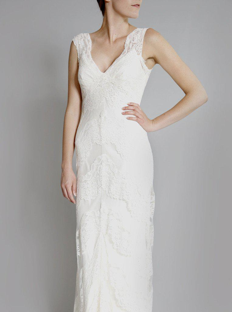 Elizabeth Fillmore 'Sophia' Ivory Chantilly Lace Wedding Dress - Elizabeth Fillmore - Nearly Newlywed Bridal Boutique - 2