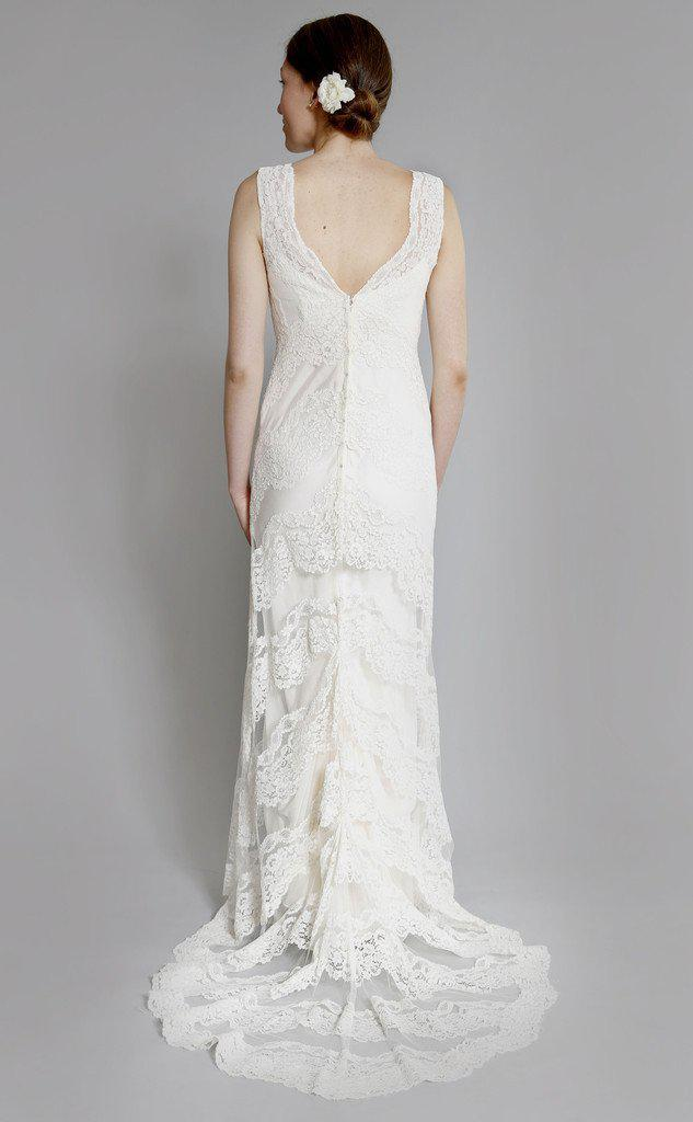 Elizabeth Fillmore 'Sophia' Ivory Chantilly Lace Wedding Dress - Elizabeth Fillmore - Nearly Newlywed Bridal Boutique - 3