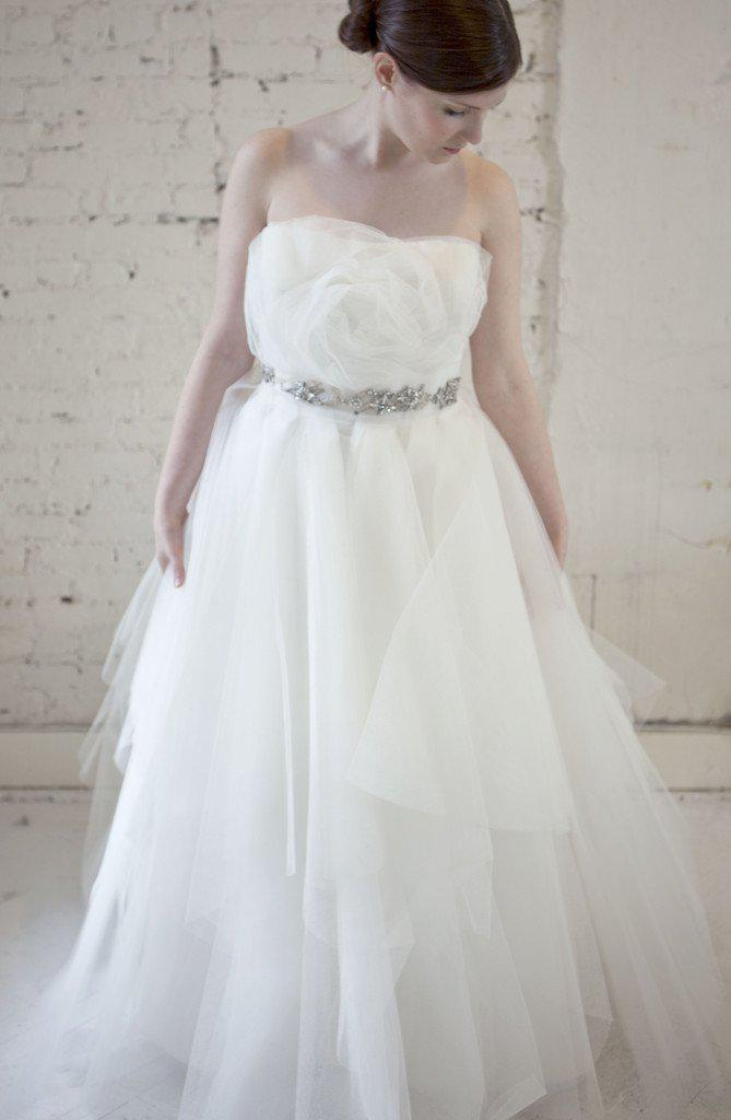 Marchesa Tulle Rosette Princess Gown - Marchesa - Nearly Newlywed Bridal Boutique - 2
