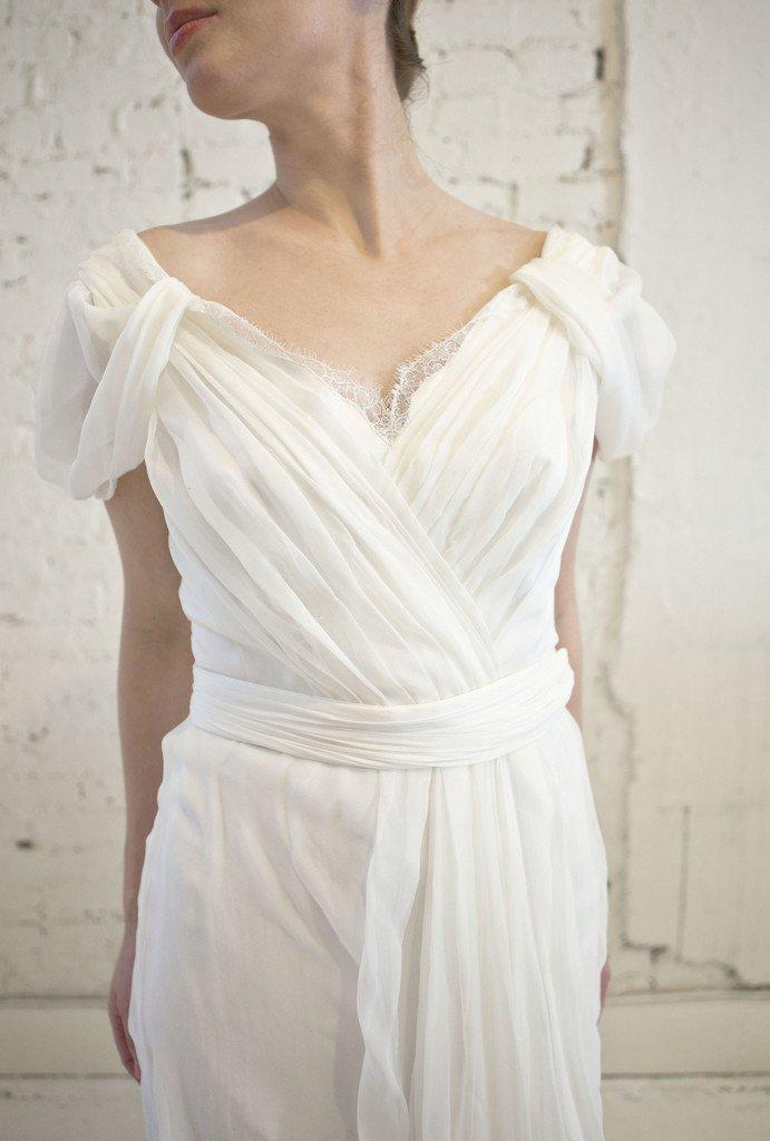 Alberta Ferretti Silk & Lace Grecian Wedding Dress - Alberta Ferretti - Nearly Newlywed Bridal Boutique - 5
