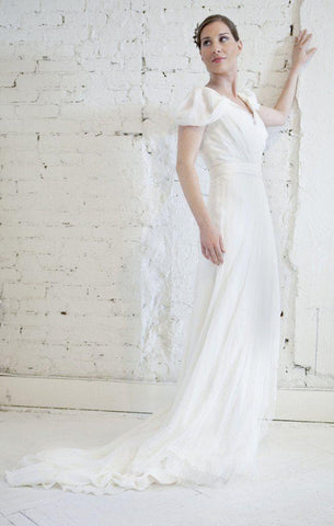 Alberta Ferretti Silk   Lace Grecian Wedding Dress f01325b1b