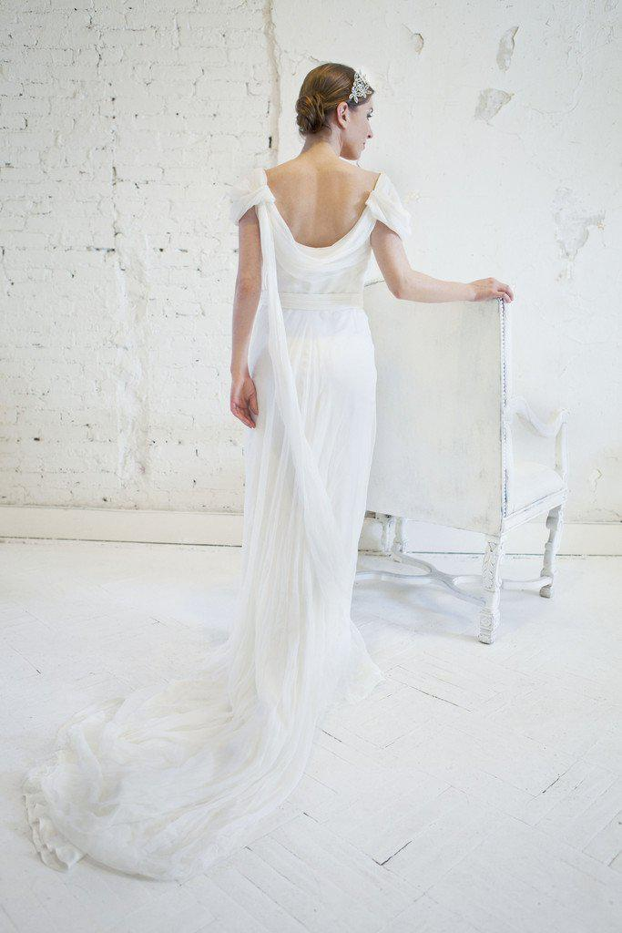 Alberta Ferretti Silk & Lace Grecian Wedding Dress - Alberta Ferretti - Nearly Newlywed Bridal Boutique - 4
