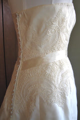 Christos Lace A-line Strapless Wedding Dress - Christos - Nearly Newlywed Bridal Boutique - 3