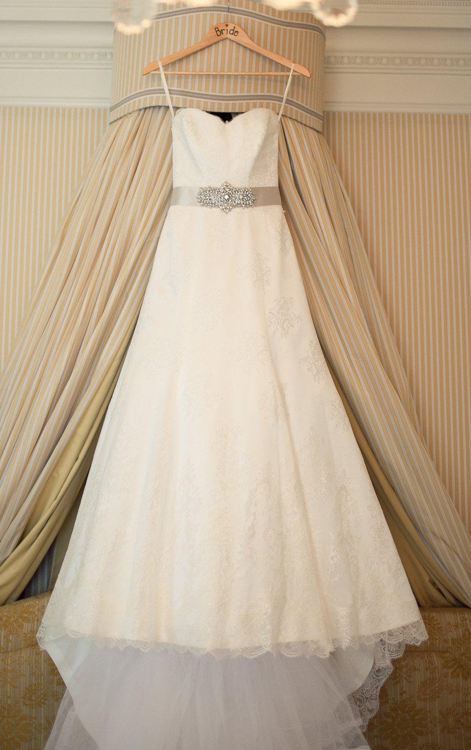 Suzanne Neville Lace Strapless A-line Wedding Dress - Suzanne Neville - Nearly Newlywed Bridal Boutique - 1