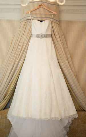Suzanne Neville Lace Strapless A-line Wedding Dress
