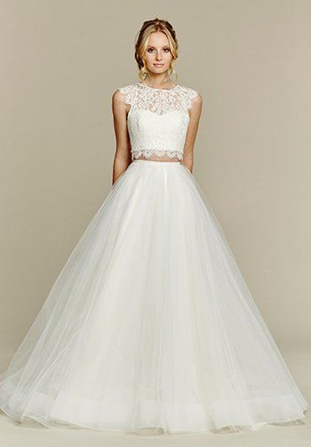 Hayley Paige 'Sunny Blush' size 14 new wedding dress front view on model