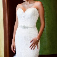 Madison James '215' size 4 used wedding dress front view close up on bride