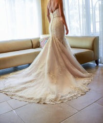 Madison James '215' size 4 used wedding dress back view on bride