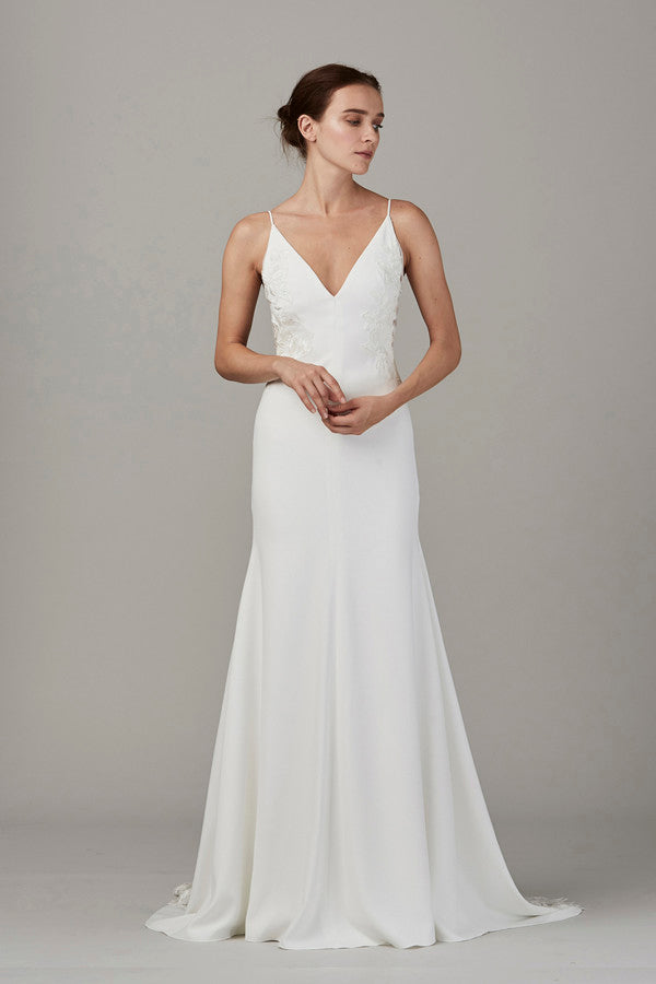 Lela Rose 'The Inlet' size 12 used wedding dress front view on model