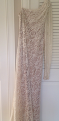 Theia 'One Shoulder' size 2 used wedding dress front view on hanger