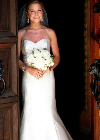 Amsale 'Bailey' Silk Mikado Mermaid Wedding Dress
